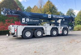 A new Liebherr mobile telescopic crane LTM 1090-4.2 for company Huyzentruyt N.V. at Beveren-Leie.